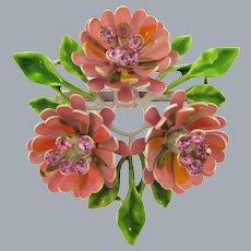 Vintage enamel flower Brooch with pink rhinestones