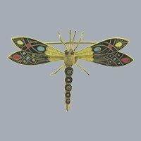 Vintage enamel gold tone figural dragonfly Brooch