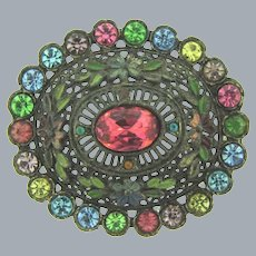 Signed Little Nemo large floral Brooch with colorful rhinestones
