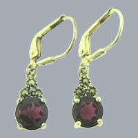 Marked 925 sterling silver wire Earrings with marcasite and garnet stones