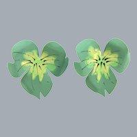 Vintage enamel on metal floral clip-on Earrings