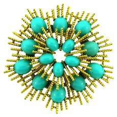 Signed Avon vintage gold tone Brooch with plastic turquoise blue cabochons