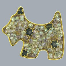 Vintage Scottie Dog Brooch with enamel and iridescent beads