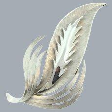 Signed Crown Trifari silver tone stylized leaf Brooch