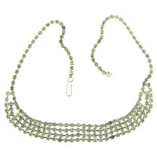 Vintage choker Necklace with four rows of crystal rhinestones