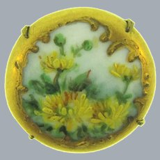 Vintage small hand painted on porcelain early Brooch