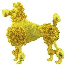 Vintage gold tone figural poodle dog Brooch