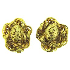 Signed Hobe vintage gold tone clip-on Earrings