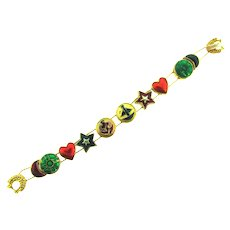 Vintage nautical theme slide charm Bracelet