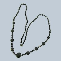 Vintage 22 inch black glass beaded Necklace
