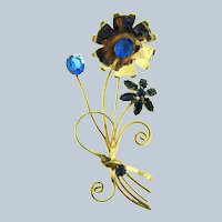 Marked sterling large 1940's floral spray Brooch with blue rhinestones