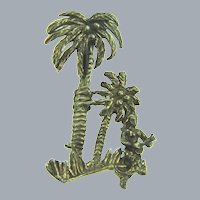 Vintage figural silver tone Hawaiian themed Brooch