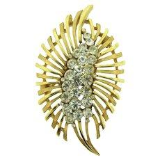 Signed Crown Trifari Brooch with crystal rhinestones