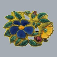 Vintage early floral enamel Brooch