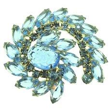 Vintage mid Century large Brooch with blue rhinestones