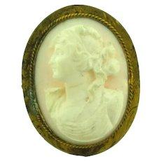 Vintage Angel Skin Coral Cameo in gold filled frame