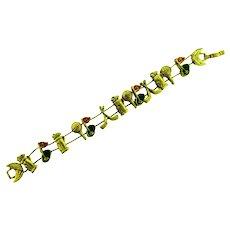 Vintage slide charm Bracelet with golf themed charms