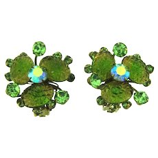 Vintage Clip-On 1960's Earrings with green lava cabochons and rhinestones