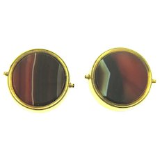 Antique banded agate gold filled Cuff Links