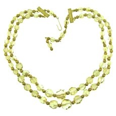 Vintage double strand crystal beaded Necklace