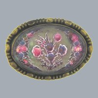 Vintage early goofus glass floral design Brooch