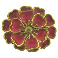 Vintage early tiered enamel on metal floral Brooch