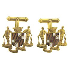 Vintage the Great Seal of the State of Maryland Cuff Links