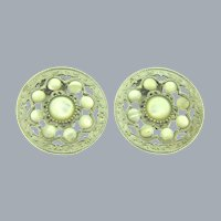 Vintage large circular clip-on Earrings with Mother of Pearl cabochons