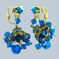 Vintage dangling chandelier blue beaded clip-on Earrings