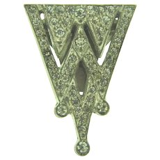 Vintage Art Deco triangular Dress Clip with crystal rhinestones