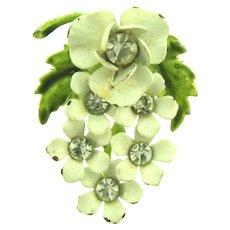 Vintage metal flower spray enamel Brooch with crystal rhinestones