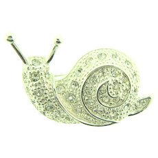 Vintage small figural snail Brooch with crystal rhinestones