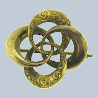 Vintage Celtic Lover's Knot early gold tone Scatter Pin
