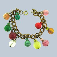 Vintage gold tone link Bracelet with art glass bead charms