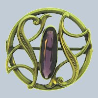 Antique Art Nouveau Brooch with amethyst glass stone