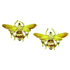 Vintage pair of matching figural bee Scatter Pins with enamel