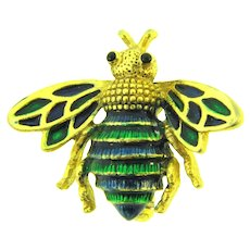 Vintage Numbered figural bee Brooch with blue and green enamel