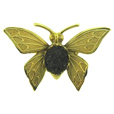 Vintage small gold tone Butterfly Brooch with plastic cabochon