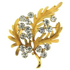 Signed Alan J vintage floral Brooch with crystal rhinestones