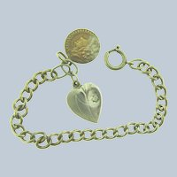 Vintage silver tone chain link Bracelet with heart charm and medallion