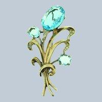 Signed Reja Sterling vermeil large floral Brooch with light blue and crystal rhinestones