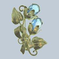 Vintage large floral silver tone Brooch with blue rhinestones