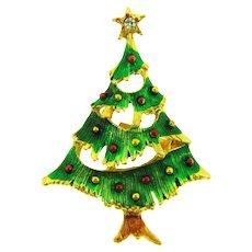 Vintage Christmas Tree Brooch with enamel and rhinestone