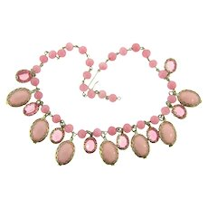 Vintage glass pink beaded choker Necklace with pink rhinestones and cabochons