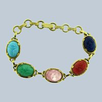 Vintage gold tone Bracelet with scarab glass cabochons