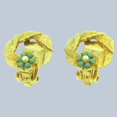 Vintage gold tone floral clip-on Earrings with beads and faux pearls