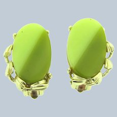 Vintage thermoset two tone green clip-on Earrings