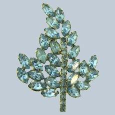 Vintage mid century leaf Brooch with light blue rhinestones