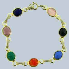Vintage gold tone petite link Bracelet with colorful glass scarab cabochons