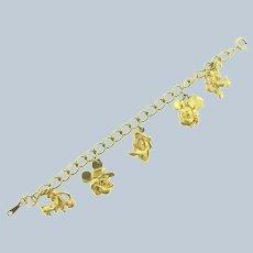 Vintage signed Disney souvenir gold tone Charm Bracelet